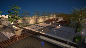 Backyard garden design night view