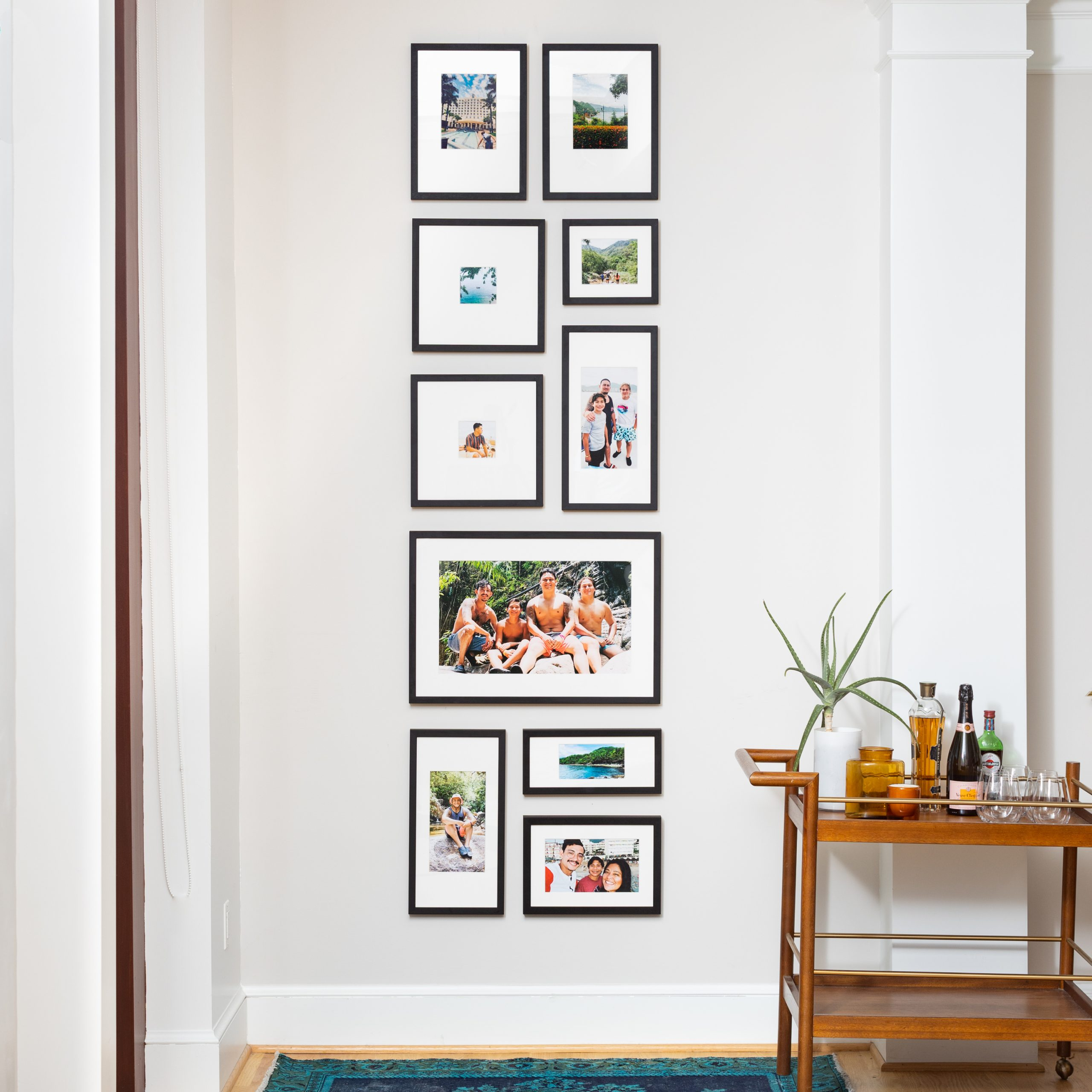 narrow wall gallery wall design